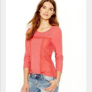 Lucky Brand NWT Crochet Lace Thermal Top T-shirt